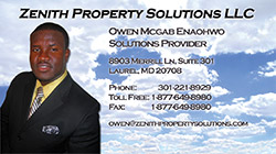 Zenith Property Solutions Business Card Back